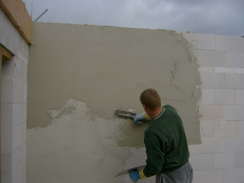 Штукатурка цементным раствором пеноблоков соли на бетоне