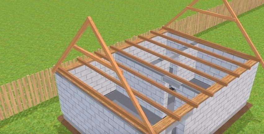 Крыша для бани из пеноблоков